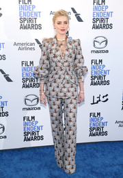 Amber Heard donned a patterned pantsuit by Fendi Couture for the 2020 Film Independent Spirit Awards.
