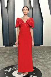 Caitriona Balfe was Valentine-glam in a red Prabal Gurung gown with a bow neckline at the 2020 Vanity Fair Oscar party.