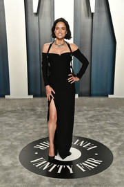 Michelle Rodriguez donned a form-fitting cold-shoulder gown for the 2020 Vanity Fair Oscar party.