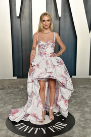 Chiara Ferragni went for flirty glamour in a floral high-low gown by Philosophy di Lorenzo Serafini at the 2020 Vanity Fair Oscar party.