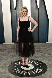 Greta Gerwig looked lovely in a spaghetti-strap LBD by Dior at the 2020 Vanity Fair Oscar party.