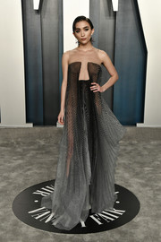 Rowan Blanchard was a modern goddess in an ombre striped gown with an illusion neckline at the 2020 Vanity Fair Oscar party.