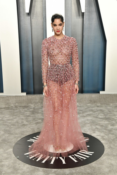 Sofia Boutella hit the 2020 Vanity Fair Oscar party wearing a sheer, embellished pink gown by Valentino.