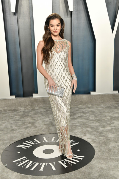 Hailee Steinfeld was vintage-glam in a beaded ivory column dress by Prada at the 2020 Vanity Fair Oscar party.
