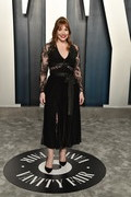 Bryce Dallas Howard kept it low-key yet elegant in a fitted black lace-panel top by Elie Saab at the 2020 Vanity Fair Oscar party.
