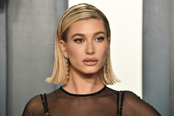 More Pics of Hailey Bieber Sheer Dress (4 of 9) - Hailey Bieber Lookbook - StyleBistro [hair,face,blond,hairstyle,eyebrow,lip,beauty,skin,chin,fashion,radhika jones - arrivals,radhika jones,hailey bieber,beverly hills,california,wallis annenberg center for the performing arts,oscar party,vanity fair,rihanna,party,vanity fair,launch party,celebrity,model,oscar party,academy awards,supermodel]