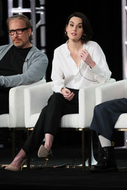 Michelle Dockery was classic in a white button-down shirt and black trousers at the 2020 Winter TCA Tour.