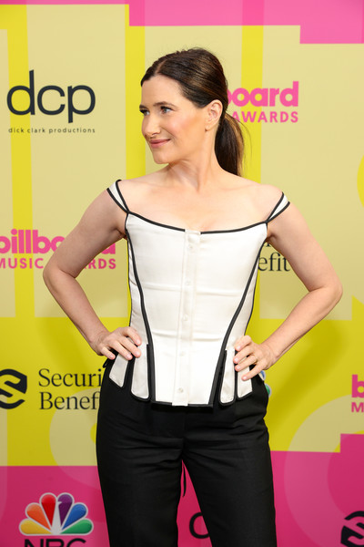 More Pics of Kathryn Hahn Corset Top (1 of 4) - Tops Lookbook - StyleBistro [clothing,joint,smile,arm,shoulder,muscle,active pants,sleeve,waist,thigh,billboard music awards,backstage,waist,clothing,joint,smile,arm,shoulder,waist,abdomen,undergarment,carpet,yellow,product,socialite,kathryn hahn,socialite]