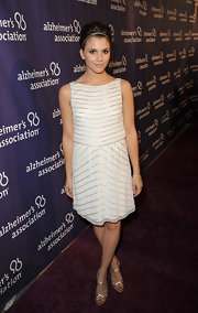 Alexandra Chando wore this white shift dress with striped beading on the Alzheimer's Association 'A Night at Sardi's' red carpet.