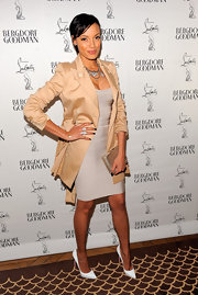 Selita Ebanks looked saucy in this shining bandage dress for the Christian Louboutin celebration.