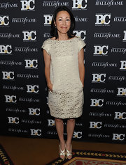 Ann Curry's silver strappy sandals were a glam finish to her look.