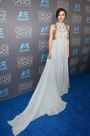 Keira Knightley went for an ethereal light blue gown by Delpozo with a huge, flowing train and cute collar for the Critics' Choice Movie Awards.