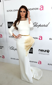 Paz Vega wore this architectural white gown to the Elton John AIDS Foundation Academy Award viewing party.
