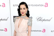 Model Dita Von Teese arrives at the 20th Annual Elton John AIDS Foundation Academy Awards Viewing Party at The City of West Hollywood Park on February 26, 2012 in Beverly Hills, California.