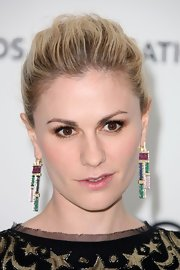 Anna Paquin wore her hair swept back into a classic bun at the Elton John Oscar viewing party.