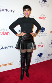 Jennifer Hudson amped up the tough-chic vibe with a pair of black thigh-high boots by Gianvito Rossi.
