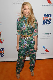 DJ Havana Brown chose a bold tropical print for both her blouse and trouser.