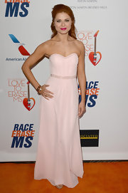Anna Trebunskaya's powder pink strapless dress featured a sweetheart neckline and a beaded waist.