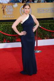 Anna Chlumsky looked quite the diva in a navy one-shoulder gown by Sophie Theallet during the SAG Awards.