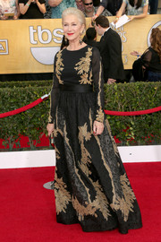 Helen Mirren looked downright regal at the SAG Awards in a gold-embroidered black gown by Escada.