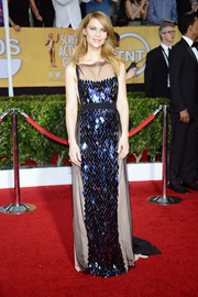 Claire Danes was Art Deco-chic at the SAG Awards in a Vionnet sheer-overlay gown with a beaded front.