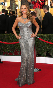 Sofia Vergara was a stunning head turner at the SAG Awards in a fully beaded silver strapless gown by Donna Karan Atelier.
