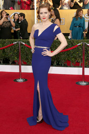 Amy Adams looked downright divine at the SAG Awards in a blue Antonio Berardi one-shoulder gown with a geometric neckline and a shoulder cutout.