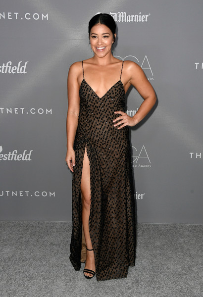 More Pics of Gina Rodriguez Strappy Sandals (4 of 12) - Gina Rodriguez Lookbook - StyleBistro [fashion model,dress,clothing,shoulder,cocktail dress,fashion,neck,hairstyle,gown,a-line,arrivals,gina rodriguez,costume designers guild awards,beverly hills,california,the beverly hilton hotel,cdga]
