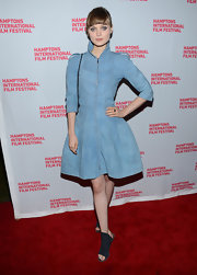 Bella Heathcote looked like a Denim Queen wearing a costumesque dress at the 20th Hamptons International Film Fest.