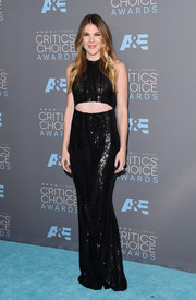Lily Rabe was trendy and glam in a black sequin gown with a midriff cutout at the Critics' Choice Awards.