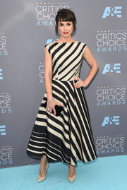 Constance Zimmer was vibrant and chic in a black-and-white diagonal-striped dress by Tracy Reese at the Critics' Choice Awards.