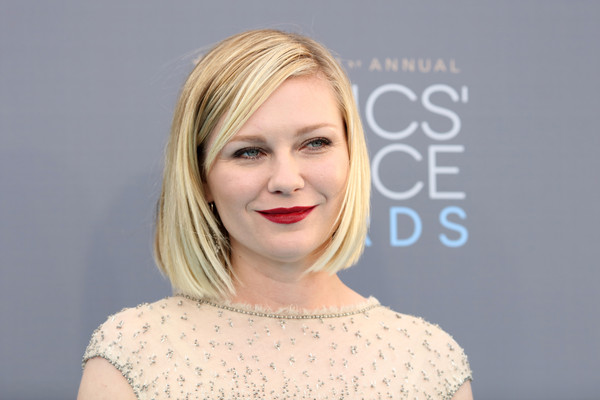 More Pics of Kirsten Dunst Beaded Dress (1 of 18) - Dresses & Skirts Lookbook - StyleBistro [hair,face,lip,blond,hairstyle,eyebrow,chin,skin,head,beauty,arrivals,kirsten dunst,critics choice awards,santa monica,california,barker hangar]