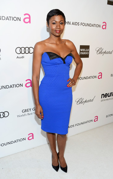 Emayatzy Corinealdi at Elton John's 2013 Oscars Party