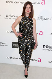 Bonnie Wright showed her playful side at Elton John's Oscar party with a print, peplum jumpsuit.