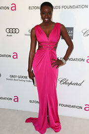 Danai Gurira opted for a sophisticated but feminine gown with side cutouts for her Oscar-night look.