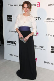 Katie Aselton looked sophisticated and classic at Elton John's Oscar party in a tri-color dress with cinched waist.