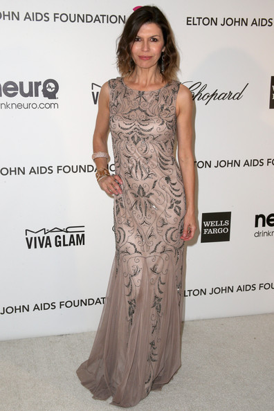 Finola Hughes looked classic and sophisticated in a column-style gown with floral embellishments.