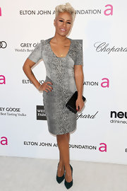 Emeli Sande showed her wild side at Elton John's Oscar party with this animal print cocktail dress.