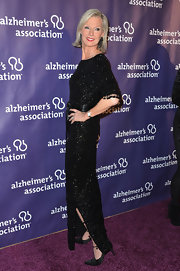Laurie Burrow Grad chose some sparkle with this black beaded dress at the 'A Night at Sardi's' gala.