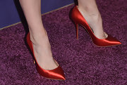 Beth Behrs chose a red satin pump for her look at 'A Night at Sardi's' in Beverly Hills.