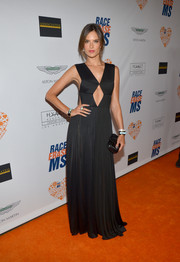 Alessandra Ambrosio looked fierce and sexy in a black cutout gown by Vionnet during the Race to Erase MS event.