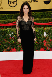 Julia Louis-Dreyfus exuded timelessness in a black Monique Lhuillier lace-bodice column dress at the SAG Awards.