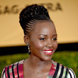 Lupita Nyong'o's Braided Updo and Rosy Red Lips