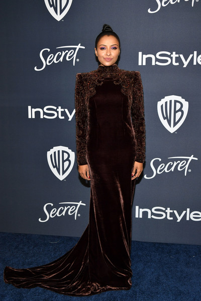 Kat Graham covered up in a long-sleeve, bold-shouldered velvet gown by Etro for the Warner Bros. and InStyle Golden Globes after-party.