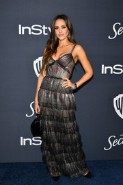 Jessica Alba chose a tiered gunmetal gown by J. Mendel for the Warner Bros. and InStyle Golden Globes after-party.