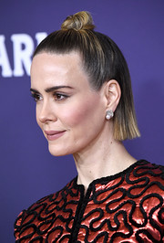 Sarah Paulson looked cute with her half-up knot at the 2019 Costume Designers Guild Awards.