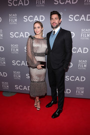 Emily Blunt looked very classy in a beaded gray cocktail dress by Dolce & Gabbana at the SCAD Savannah Film Festival opening night.