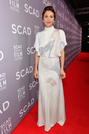 Maggie Gyllenhaal attended the SCAD Savannah Film Festival opening night wearing a draped, painterly-print gown by Nina Ricci.