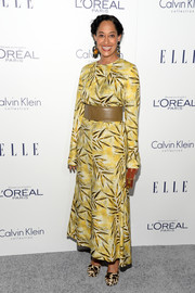 Tracee Ellis Ross attended the Elle Women in Hollywood Awards looking conservative in a leaf-print maxi dress.