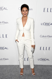 Emmanuelle Chriqui suited up so stylishly in this white Tamara Mellon number for the Elle Women in Hollywood Awards.
